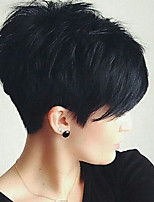 Small Fresh Fashion Black  Oblique Fringe   Human Hair Wigs