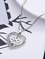 Women's Pendant Necklaces Rhinestone Heart Rhinestones Alloy Love Jewelry For Wedding Party Special Occasion Anniversary Birthday