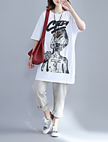 Women's Daily Casual Simple Cute Spring Summer T-shirt,printing Round Neck Short Sleeve Cotton Blend Medium
