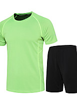 Men's Women's Running T-Shirt with Shorts Baselayer Short Sleeves Quick Dry Running Running T-Shirt + Shorts Clothing Suits for