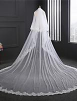 Elegant 3.5 Meters Long Wedding Veil Two-tier Chapel Veils Lace Applique Edge Lace Tulle