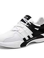 Men's Sneakers Comfort Spring Summer Fall Winter Tulle Walking Shoes Casual Party & Evening Outdoor Lace-up Flat Heel White Black