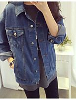 Women's Daily Simple Spring/Fall Denim Jacket,Solid Shirt Collar Long Sleeve Short Denim