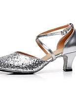Women's Latin Canvas Heels Practice Silver Gold