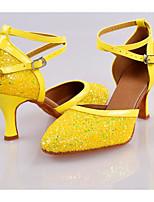 Women's Modern Paillette Glitter Flats Heels Practice Blue Yellow Black