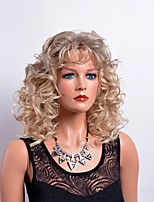 Curly Fashion Blonde Wig with Bang Elegant Trendy Hairstyle Daily Wearing Heat Resistant High Quality