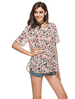Women's Holiday Going out Casual/Daily Simple Cute Summer Blouse,Floral Round Neck Short Sleeve Rayon Thin