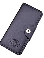 Men Checkbook Wallet PU Polyester All Seasons Shopping Daily Casual Rectangle Snap Dark Coffee Coffee Black