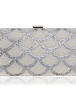 Women Bags All Seasons Polyester Evening Bag with Rhinestone Pearl Detailing Bead for Event/Party Silver