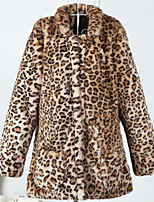 Women's Casual/Daily Simple Fall Winter Fur Coat,Leopard Stand Long Sleeve Long Others