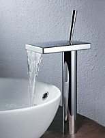 Contemporary Style Centerset Waterfall Single Handle One Hole for  Chrome  Tall Bathroom Basin Sink Faucet
