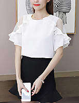 Women's Casual Simple Blouse,Solid Round Neck Short Sleeve Silk