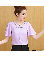 Women's Going out Street chic Blouse,Solid V Neck Short Sleeve Others
