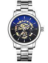Per uomo Orologio scheletro orologio meccanico Giapponese Carica automatica Nottilucente Lega Banda Argento