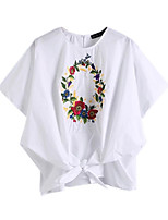 Women's Daily Casual Simple Blouse,Solid Print Embroidery Off Shoulder Half Sleeve Cotton
