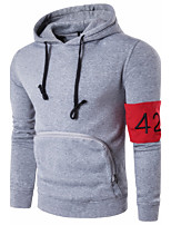 Men's Sports Casual/Daily Simple Cute Hoodie Solid Hooded Micro-elastic Cotton Long Sleeve Spring Fall Winter