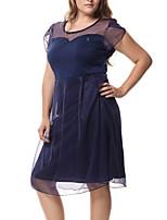 Gaine Robe Femme Soirée Grandes Tailles Sexy simple Chic de Rue,Mosaïque Col Arrondi Mi-long Manches Courtes Polyester Printemps Eté