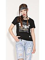 Damen Grid /-Plaid-Muster Zeichen Einfach Street Schick Punk & Gothic Ausgehen Lässig/Alltäglich Athlässigkeit T-shirt,Rundhalsausschnitt