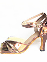 Women's Latin Faux Leather Sandals Performance Buckle Stiletto Heel Gold 3