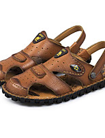 Men's Sandals Comfort Cowhide Summer Casual Comfort Khaki Light Brown Flat