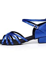 Для женщин Латина Шёлк На каблуках Тренировочные Золотой Черный Синий