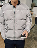 Men's Padded Coat,Simple Casual/Daily Solid-Polyester Polyester Long Sleeve
