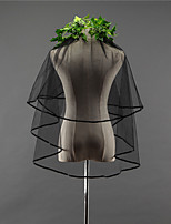 Black Wedding Veil Two-tier Fingertip Veils Ribbon Edge Tulle