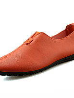 Men's Oxfords Moccasin Rubber Spring Fall Outdoor Moccasin Flat Heel Orange Black White Under 1in