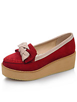 Women's Heels Comfort Spring Fall Microfibre Casual Dress Bowknot Split Joint Wedge Heel Creepers Beige Ruby Blue 1in-1 3/4in