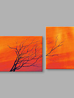 IARTS®Hand Painted Abstract Oil Painting Withered Tree Orange View  Set of 2 with Stretched Frame Handmade For Home Decoration Ready To Hang