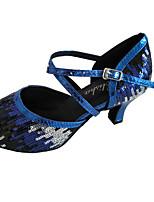 Damen Latin Glitzer Sandalen Innen Maßgefertigter Absatz Gold Blau
