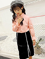 Girls' Stripes Patchwork Sets,Cotton Polyester Spring Fall Long Sleeve Clothing Set