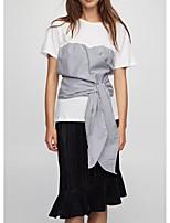T-shirt Da donna Per uscire Casual Sensuale Semplice Moda città Estate,Monocolore Rotonda Cotone Manica corta Sottile Medio spessore