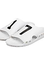 Men's Slippers & Flip-Flops Comfort Synthetic Microfiber PU Spring Summer Casual Comfort Flat Heel Black White Flat
