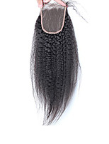 3.5x4Inch Human Hair Lace Top Closure Kinky Straight Bleached Knots with Baby Hair Closure