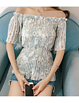 Women's Going out Cute Summer Blouse,Floral Boat Neck Half Sleeve Polyester