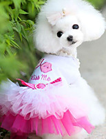 Dog Dress Dog Clothes Casual/Daily Princess Blue Blushing Pink