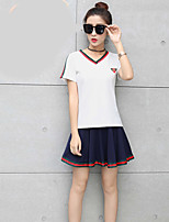 Women's Festival Modern/Comtemporary Summer T-shirt Skirt Suits,Solid Striped V-Neck Short Sleeve