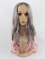 The Wavy Hair of the Harajuku Hair Wig Cosplay is a Grey Mixed Powder Synthetic Cosplay Wig