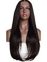 Silk Straight Natural Black Midlle Part Style For Black Women Glueless Lace Front Human Hair Wigs 8-26 Inch No Shedding