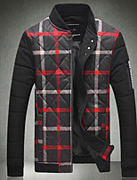 Men's Regular Padded Coat,Simple Casual/Daily Print-Others Cotton Long Sleeve