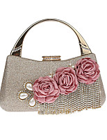 Women Evening Bag Polyester All Seasons Wedding Event/Party Formal  Rhinestone Appliques Pearl Detailing Clasp LockRed Silver Black