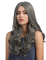Enchanting Fashion Grey Midsplit Long Curly Hair Synthetic Wig