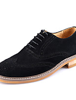 Men's Wedding Shoes Formal Shoes Cowhide Leather Spring Fall Wedding Office & Career Party & Evening Formal Shoes Khaki Gray Black Flat