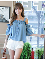Women's Casual/Daily Simple T-shirt,Solid Boat Neck Short Sleeves Polyester Others