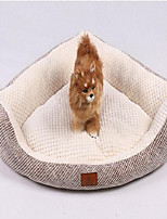 Dog Bed Pet Baskets Solid Plaid/Check Warm Breathable Soft Washable Brown Beige