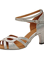 Women's Latin Sparkling Glitter Sandals Performance Criss-Cross Stiletto Heel Silver 3