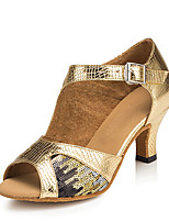 Women's Latin Faux Leather Sandals Performance Paillettes Cuban Heel Gold 2