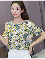 Women's Going out Street chic Blouse,Floral Color Block Round Neck Short Sleeve Others