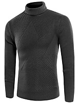 Men's Casual Vintage Regular Pullover,Solid High Neck Long Sleeve Cotton Blend Fall Winter Medium Stretchy